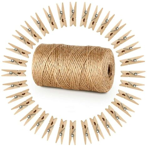 LITZEE 328 Pieds Ficelle de Jute et 100 pièces Mini en Bois Naturel Craft Pinces à Linge Craft Pinces à Linge Clips pour Jardinage Applications, Arts Crafts Cadeau de Noël