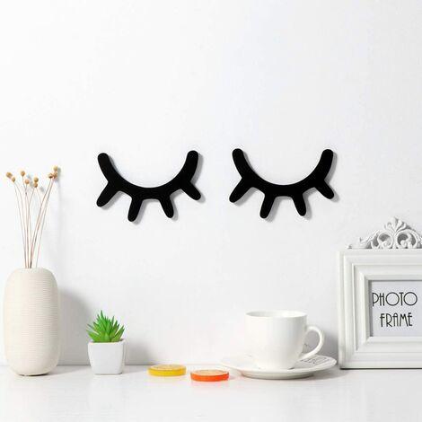 LITZEE 3D Cils Sticker mural en bois pour chambre de bébé, chambre d'enfant, décoration murale, décoration d'yeux dormurs, cils Sleepy Eyes (noir)