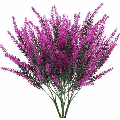 LITZEE 4 piezas flores artificiales lavanda flores artificiales lavanda plantas artificiales plantas artificiales púrpuras para florero de boda balcón jardín oficina en casa fiesta caja de flores decoración