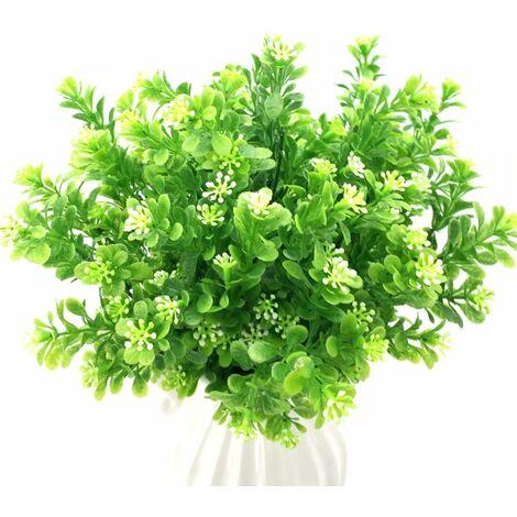 LITZEE 4 piezas plantas artificiales arbustos decoración arbustos artificiales plantas de simulación arbustos ramos decoración de plástico para interiores y exteriores, hogar, oficina