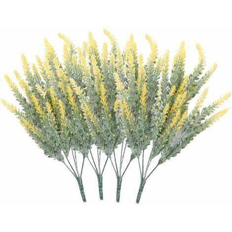 LITZEE 4 ramos de flores artificiales flocado flores artificiales lavanda planta flores artificiales decoración en maceta en amarillo)