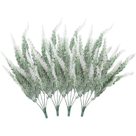 LITZEE 4 ramos de flores artificiales flocado flores artificiales planta de lavanda flores artificiales decoración en maceta (blanco)