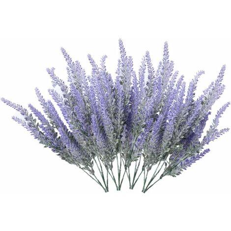 LITZEE 4 ramos de flores artificiales flocado flores artificiales planta de lavanda flores artificiales decoración en maceta (púrpura)