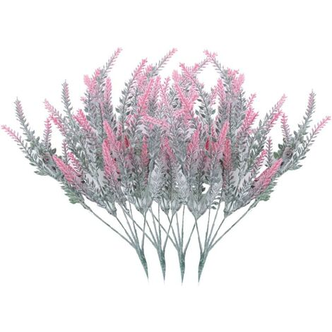 LITZEE 4 Ramos de flores artificiales Flores artificiales flocadas Planta de lavanda Flores artificiales Decoración en maceta (Rojo)