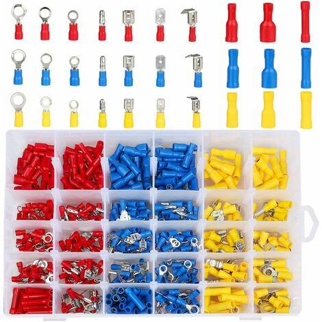 LITZEE 480pcs Cosse Electriques,Cosses Electriques pour Voiture,Connecteur Electrique,Assortiment Connecteurs Isoées sertissage