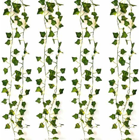 LITZEE 4PCS 2M 20 Leds Plantas artificiales Cadena de luces LED Luces de cadena Hoja verde Ivy Vine para el hogar Decoración de la boda Lámpara DIY Colgante Jardín Patio Iluminación