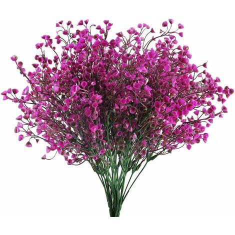 LITZEE 4pcs Flores Artificiales Púrpura Flores Artificiales Decoración Flores de Plástico Decoración Artificiales Flores Logotipo Flores Plantas Artificiales para Balcón Jardín Interior Exterior Primavera Florero Decoración