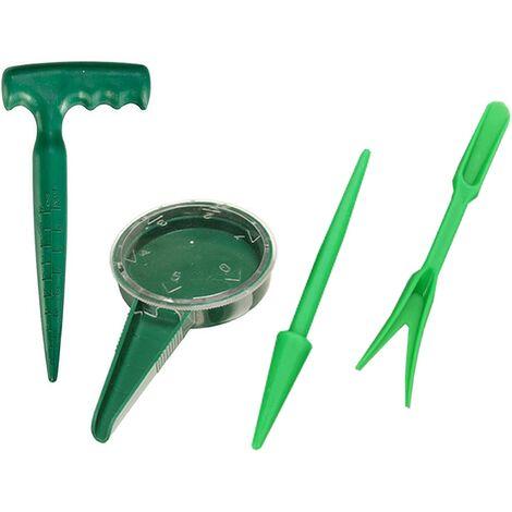 LITZEE 4PCS Mini Kit Outils Jardinage,Jardin Succulent Kit Réglable Semis Semis Transplanteur Perforateur Semoir Et Cutter pour Plantes Charnues,Sol Puncher Graine Planteur Outil Kit Set Simple Semis