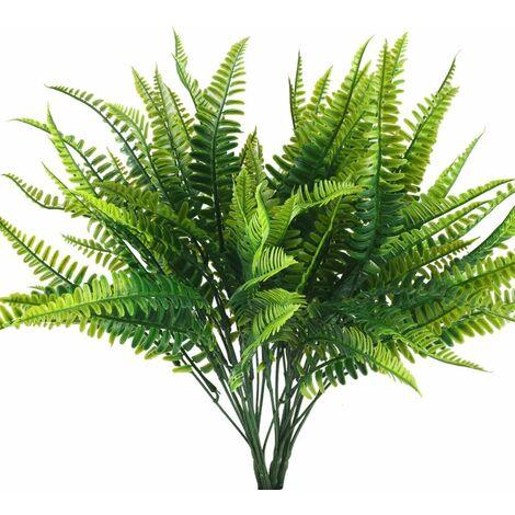 LITZEE 4pcs Plantas artificiales Helechos Plantas artificiales Plantas de plástico Plantas verdes impermeables al aire libre Decoración para balcón Jardín Oficina Maceta interior Hogar Decoración de boda 23 * 40CM