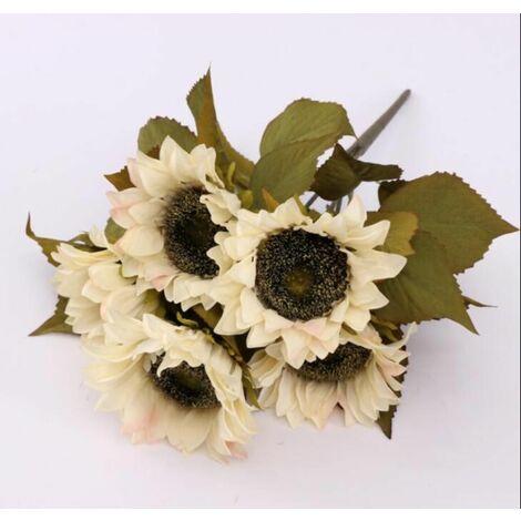 LITZEE 5 Cabezas Flores Artificiales Girasoles Flores de Plástico Decoración Flores Falsas Caguama para Interior Exterior Primavera Jardín Balcón Caja de Flores en Maceta Blanco