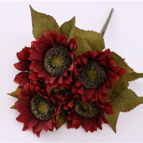 LITZEE 5 têtes fleurs artificielles tournesols fleurs en plastique décoration fausse fleur fleurs caouannes pour intérieur extérieur printemps jardin balcon en pot boîte à fleurs rouge
