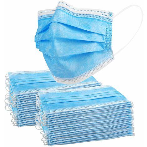 LITZEE 50 Mascarillas desechables Mascarillas faciales de 3 capas Mascarilla facial contra el polvo y las gotas en el aire