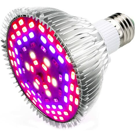 LITZEE 50W 78LED Bombilla Grow Light E27 iluminación para plantas con 7 longitudes de onda AC 85-265V para plantas, flores y verduras interior / invernadero / jardín