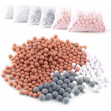 LITZEE 6 paquetes de bolas minerales de iones negativos, piedra bioactiva de repuesto para ducha de mano con filtro iónico, purifica el agua para rejuvenecer la piel y el cabello