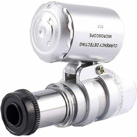 LITZEE 60x Mini-loupe, Microscope de Loupe de Poche LED Lumière UV pour les Bijoutier