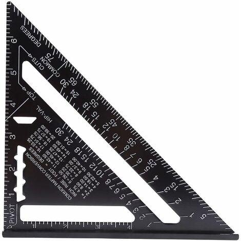LITZEE 7 pulgadas métrica / imperial cuadrado aluminio triángulo regla transportador ángulo herramientas de medición de alta precisión con acabado de óxido negro para carpintero carpintero
