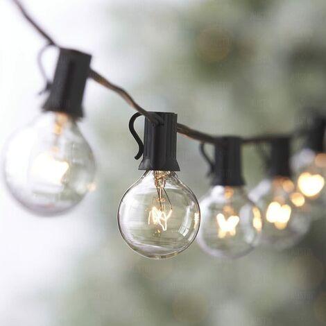LITZEE 7,62 m G40 Guirnalda conectable con 25 bombillas de bola de color blanco cálido con 2 bombillas de repuesto, decoración interior y exterior para la boda de Navidad en el Patio Cafe Garden [clase energética A +] 10 vatios