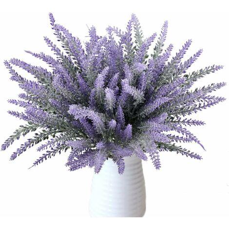 LITZEE 8 paquetes Hermoso ramo de lavanda púrpura Plantas artificiales decorativas Flores artificiales Flores de simulación real para el dormitorio Alféizar de la ventana Tributos florales