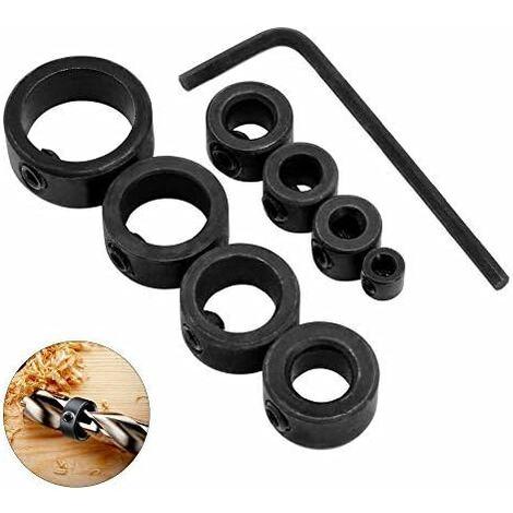 LITZEE 8 piezas tope de profundidad de perforación, 3-16 mm, posicionador de anillo de tope de profundidad con llave Allen (8)