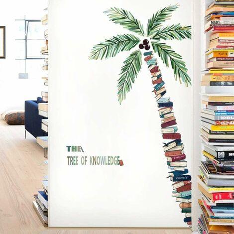 LITZEE Adhesivo de pared, adhesivo de árbol de libro como decoración de pared para dormitorio, sala de estar, habitación de niños, arte Diy, pasillo, decoración de pared, pegatinas de pared, 77x150cm