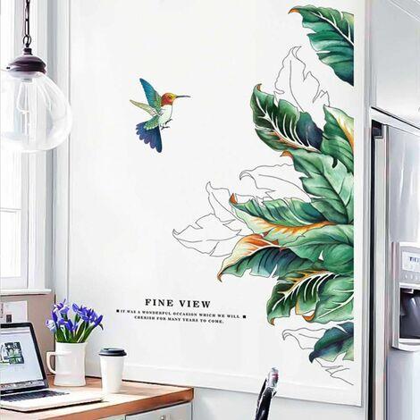 LITZEE Adhesivo de pared, hojas y pájaros, adhesivo de pared como decoración de pared para dormitorio, sala de estar, habitación de niños, arte de bricolaje, decoración de pared para pasillos, 68x120cm