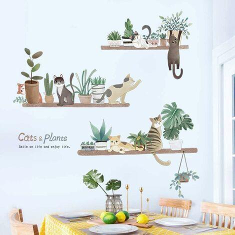 LITZEE Adhesivo de pared, planta de maceta y adhesivo de pared de gato como decoración de pared para dormitorio, sala de estar, habitación de niños, arte Diy, pasillo, decoración de pared, pegatinas de pared, 93 x 90 cm