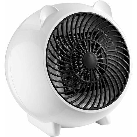 LITZEE Aérotherme, mini radiateur soufflant, céramique, radiateur électrique à économie d'énergie 500W, radiateur haute vitesse 2s, arrêt automatique, protection contre la surchauffe