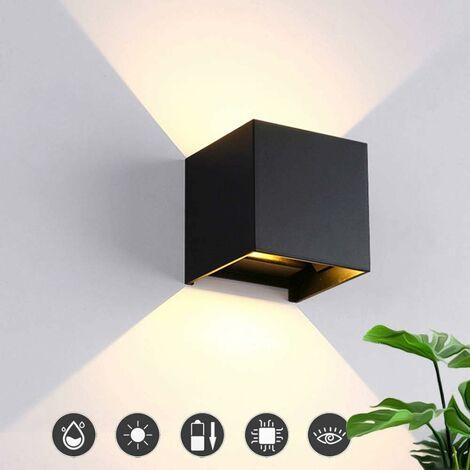 LITZEE Aplique LED para interiores y exteriores 12W Luces modernas de aluminio con diseño de esquina de haz ajustable Aplique de pared blanco cálido Aplique de pared blanco impermeable