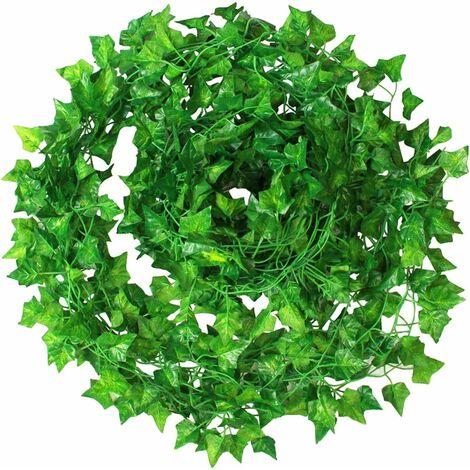 LITZEE Artificial Ivy 12 Uds hiedra Artificial planta colgante hojas de guirnalda para jardín al aire libre decoración de boda de fiesta de pared
