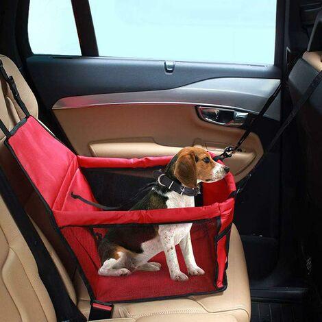 LITZEE Asiento elevador de coche para perros o gatos, bolsa de transporte para perros, funda impermeable de tela Oxford con cinturón de seguridad de viaje para chinots (rojo)