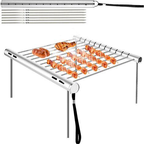 LITZEE Barbecue Grilles, Barbecue en Acier Inoxydable Barbecue Portable Camping Barbecue Grill Pliable Compact Camping Grill pour Camping, Randonnée, Pique-Nique