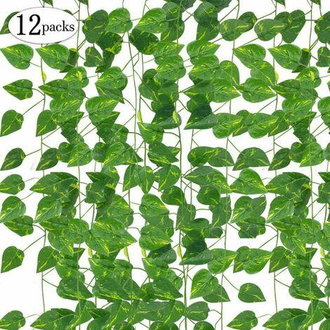 LITZEE Blätter Girlande Künstlichen Pflanzen, 12 Packungen Zum Aufhängen Pflanzen Fake Vines Seide Ivy hinterlässt Greenery Girlande für Hochzeit Küche Wand Outdoor Party Festival Decor (lvluo)