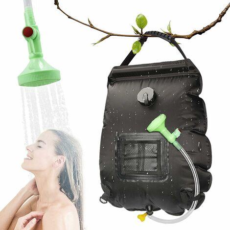LITZEE Bolsa de ducha solar para acampar, 20L, de viaje, con calefacción solar, agua caliente portátil con manguera desmontable con cabezal de ducha conmutable para senderismo, escalada, color negro