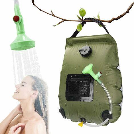 LITZEE Bolsa de ducha solar para camping de 20 l de viaje, con calefacción solar, agua caliente portátil con manguera desmontable con cabezal de ducha conmutable para senderismo, escalada, verde