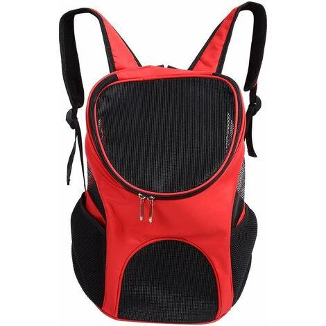 LITZEE Bolsa de transporte para perros gatos, sistema manos libres Ventilación ventilada Bolsa de hombro doble para llevar perros gatos Chinot Gatito Conejo Caminar Senderismo Viajar (rojo)