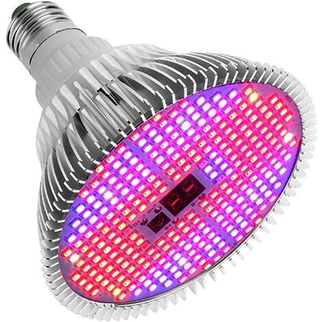 LITZEE - Bombilla de cultivo LED de 20 W, lámpara de espectro completo con temporizador con control remoto para plantas de interior hidropónicas y de invernadero, flores, cultivo de hortalizas (Base E27, 280 LED)