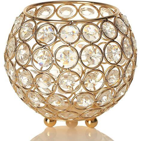 LITZEE Bougeoir Cristal de Bol en Verre Rond - Convient aux Bougies de Moins de 6 cm de Diamètre - pour Décoration de Maison/Table, Cadeau d'anniversaire/de Mariage(12 cm de Diamètre,Doré)