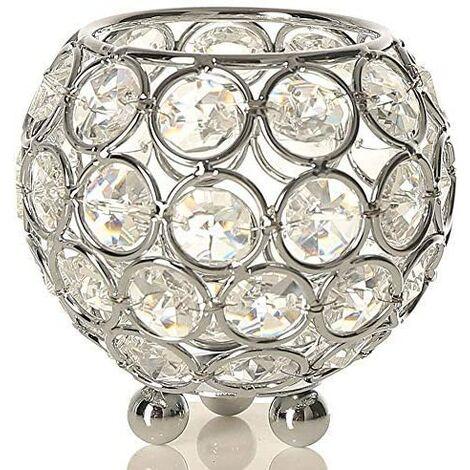 LITZEE Bougeoir Cristal Transparent de Bol Rond pour Decoration de Table Mariage Vase(8cm de Diamètre,Argent)-Convient aux Bougies LED/Chauffe-Plat