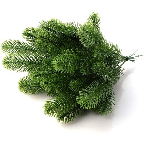 LITZEE Branches de pin artificielles, branches de sapin artificielles, branches de sapin artificielles, aiguilles, guirlandes, accessoires de bricolage pour Noël et comme décoration de maison et de jardin, PVC, 30 pièces, 24x8cm