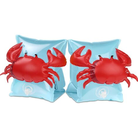 LITZEE Brazalete inflable, Brazaletes flotantes para piscina para niños de 3 a 6 años, Entrenamiento seguro para niños, Brazaletes de natación de dibujos animados Ayuda de natación para bebés, Cangrejo azul