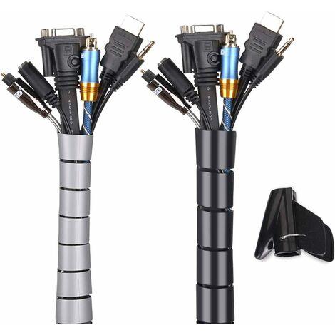 """main image of """"LITZEE Cache Cable 2 Pack,Flexible Range Câble 2x3m PE Câble Rangement Organisateur de Câble pour Ranger ou Cacher les câbles,Gaine pour câbles(2.2cm Ø et 1.6cmØ),Noir et Gris"""""""