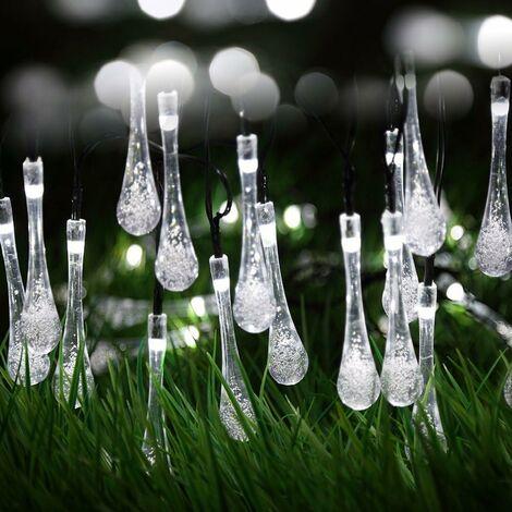 LITZEE cadena de luz solar blanca para exteriores, led, impermeable, batería, guinguette, 6,5 m, 30 leds, 8 modos decorativos para jardín, terraza, hogar, navidad, pascua, patio, balcón, encendido / apagado automático