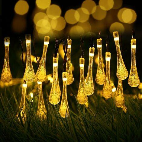 LITZEE - Cadena de luz solar para exteriores, batería LED, impermeable, guinguette, 6,5 metros, 30 LED, 8 modos decorativos para jardín, terraza, hogar, Navidad, Pascua, boda, patio, balcón, encendido / apagado automático