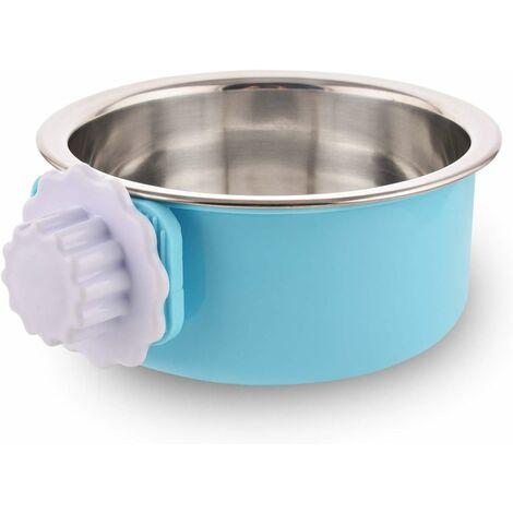 LITZEE - Caja para perros, cuenco de acero inoxidable desmontable, para colgar, para mascotas, cuenco de agua pequeño, alimentador, comida para perros, gatos, conejos, pájaros verdes, suministros para mascotas, pequeño