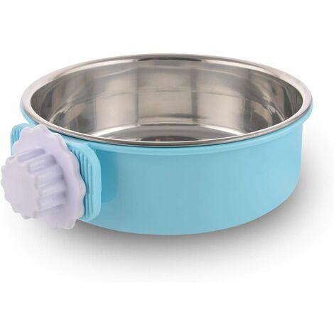 LITZEE - Caja para perros desmontable de acero inoxidable, cuenco colgante para mascotas, cuenco de agua pequeño, alimentador, comida para perros, gatos, conejos, pájaros verdes, suministros para mascotas, azul grande con tornillo de flor