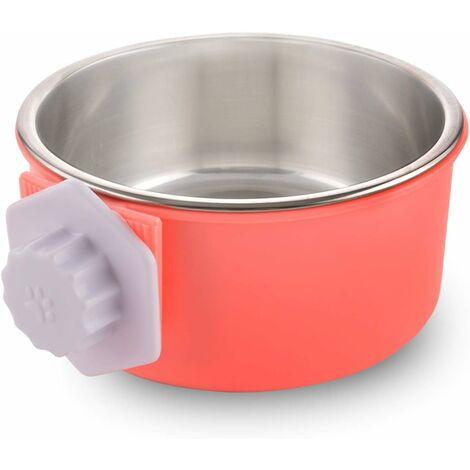 LITZEE - Caja para perros desmontable de acero inoxidable, cuenco colgante para mascotas, cuenco de agua pequeño, alimentador, comida para perros, gatos, conejos, pájaros verdes, suministros para mascotas, rosa