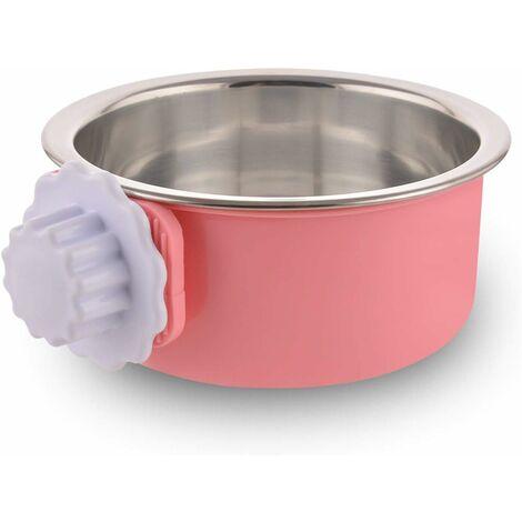 LITZEE - Caja para perros desmontable de acero inoxidable, cuenco colgante para mascotas, cuenco de agua pequeño, alimentador, comida para perros, gatos, conejos, pájaros verdes, suministros para mascotas, rosa pequeña con tornillo de flor