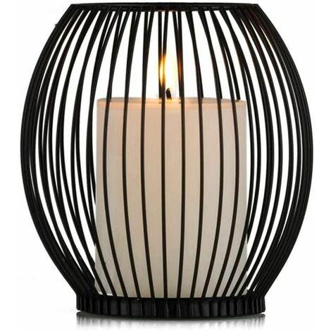 LITZEE Candelabros de hierro forjado nuevos y sencillos Candelabros creativos para bodas románticas Decoración del hogar Cena a la luz de las velas, 9 × 14 × 16