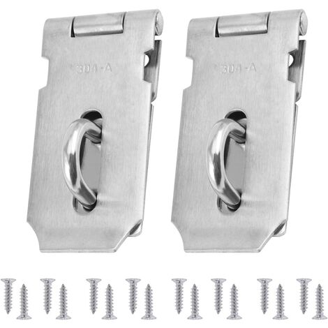 LITZEE Cerradura de clip y carrete de alto rendimiento de 2 partes, cerraduras de puerta de acero inoxidable, cerradura de puerta con tornillos de 16 partes, 4 pulgadas