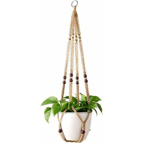 LITZEE - Cesta colgante para colgar plantas para maceta de interior, soporte para macetas, cuerda de yute con perlas de 89 cm